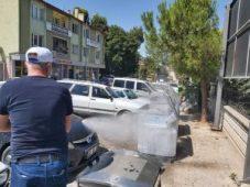 İlçemizde Çöp Konteynerleri dezenfekte ediliyor