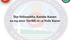 Dinar İlçemiz Hıfzıssıhha Meclisinden 23 Nisan Kararı
